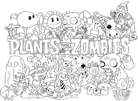 Coloring Pages For Plants Vs Zombies : Plants vs zombies coloring page printable coloring book