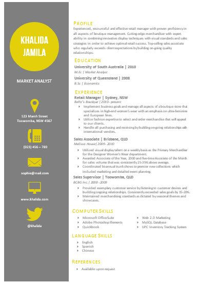This resume template is completely customizable Ive provided some - resume template australia word