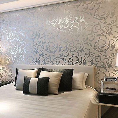 3d Victorian Metallic Luxury Silver Damask Glitter Wallpaper Roll
