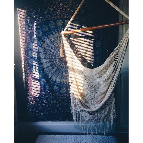 Our macrame chair in a boho living room!
