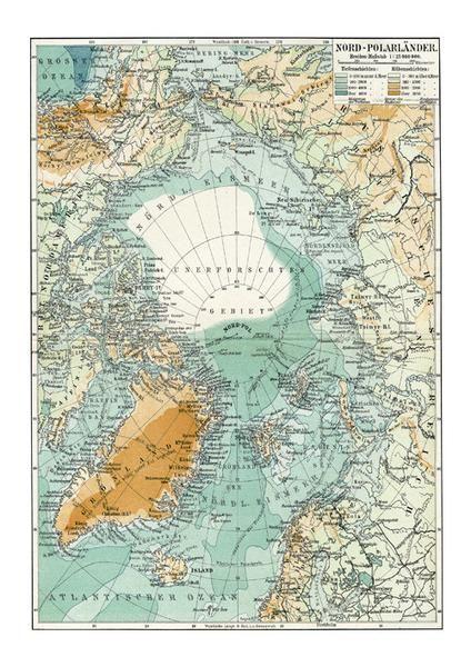 Nordpolen Verdenskort Kort Og Plakater