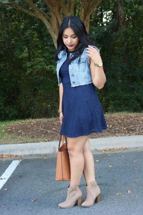 Navy dress & booties
