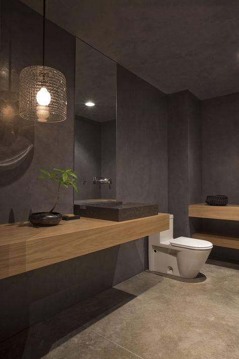 grey bathroom with mid toned wood (oak?) | wall hung wooden vanity shelf/console…