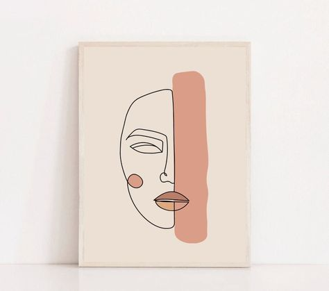 Girl Face One Line Art Printable One Line Woman Face Drawing Print Single Lined. - Girl Face One Line Art Printable One Line Woman Face Drawing Print Single Lined Woman Poster Minima - Small Canvas Art, Diy Canvas Art, Watercolor Art, Simple Watercolor, Watercolor Animals, Watercolor Background, Watercolor Landscape, Watercolor Flowers, Abstract Face Art