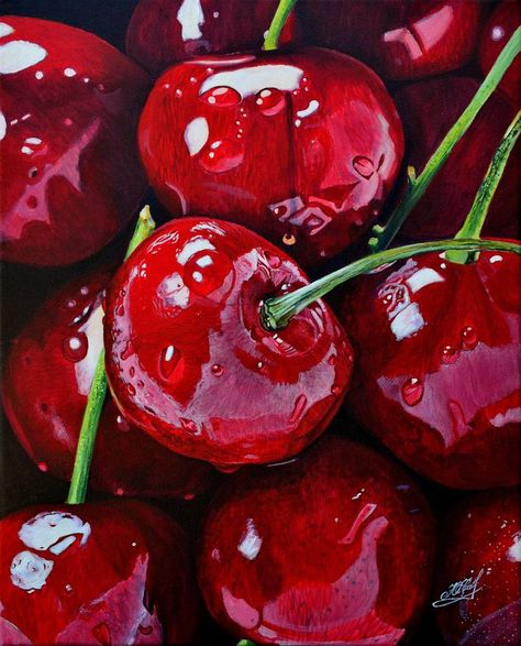 Cherry Painting by Yulia Savelyshkina Food Art Painting, Fruit Painting, Reference Photos For Artists, Art Reference, Realistic Drawings, Art Drawings Sketches, Realistic Paintings, Colorful Drawings, Cherry Drawing
