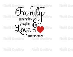 This listing is for a digital download of the quote Family Where Life Begins and Love Never Ends. This is a DIGITAL DOWNLOAD. No physical product will be sent to you. Re-distribution and re-selling of this file is strictly prohibited, in any format. You will receive a zip file