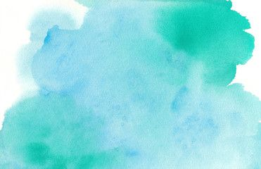 Blue Green Watercolor Paint Splash Or Blotch Background With