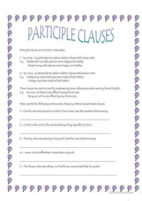 Participle Clauses Worksheet Free Esl Printable Worksheets