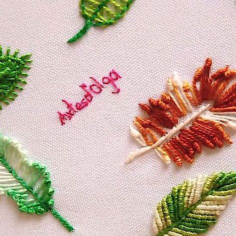 En este tutorial te muestro cómo 7 puntadas para bordar hojas. Espero que sean útiles. . . . . #artesdeolga #artesdolga #bordado #bordados #hojas #diy #hojas #embroidery #leaf #leaves