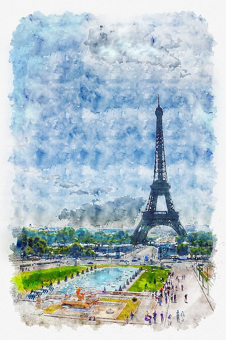 Eiffel Tower In The Distance By Darin Williams Watercolor Images