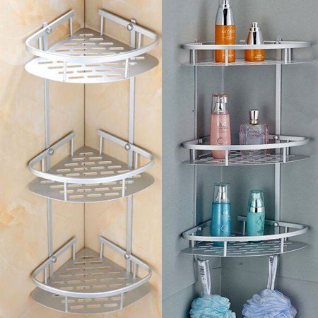 Knifun Bath Rack Triangular Shower Caddy Shelf Bathroom Corner Bath Rack Storage Holder Organizer Bath Rack Triangular Shower Shelves Shower Storage Bath Rack