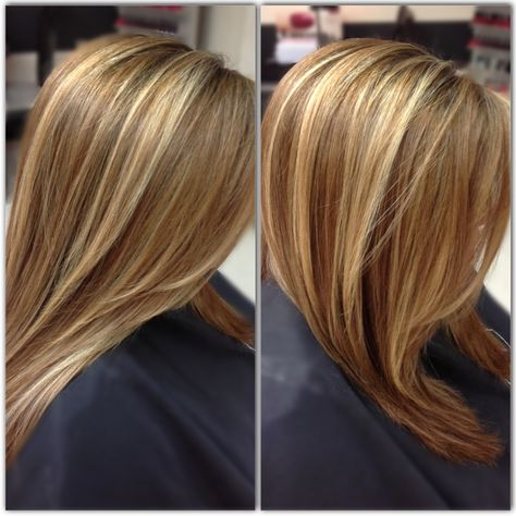 Medium Honey Brown Base With Beige Blonde Highlights Done By