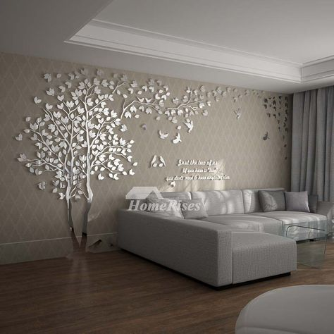 The wall decals for living room is composed of good quality acrylic material, it has tree pattern that decorates house modern and chic look. S: 200*100CM, M: 250*130CM, L: 300*150CM, XL:400*200CM, XXL: 500*250CM.