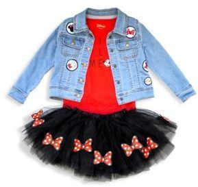Disney Minnie Mouse Mädchen Set Longsleeve und Tüllrock rot