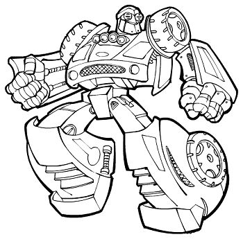 Boulder bot coloring pages for kids, printable free - Rescue bots - new coloring pages for rescue bots