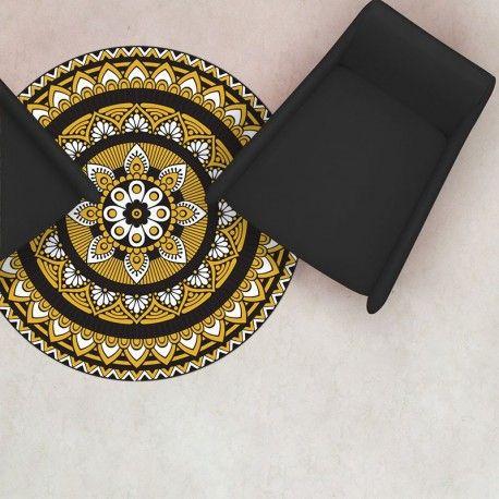 Tapis Rond Vinyle Mandala Moutarde Tapis Tapis Vinyl Et Mandala