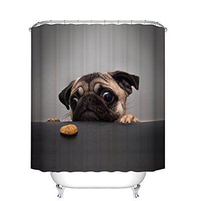 Fangkun Shower Curtain Art Bathroom Decor Animals Cute Pug Dog 3d