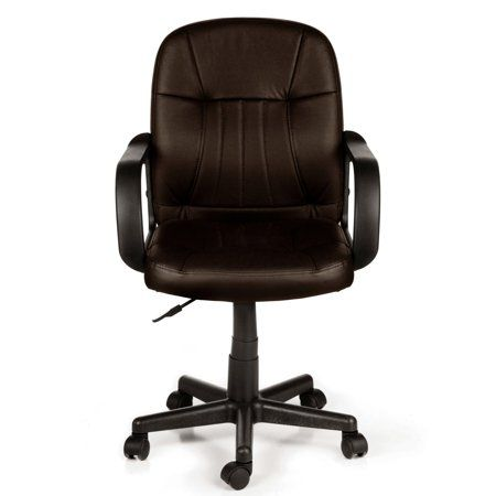 Comfort Products 60 5607m08 Leather Mid Back Chair Brown Walmart Com Black Leather Office Chair Leather Office Chair Black Office Chair