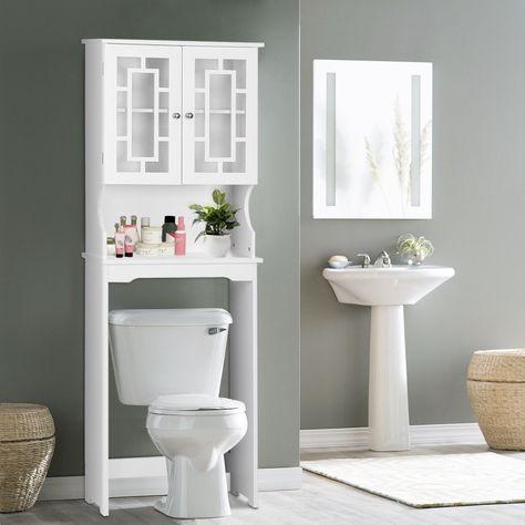 Toilet Door Storage Cabinet, White Bathroom Space Saver
