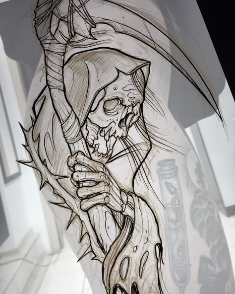 Our Website is the greatest collection of tattoos designs and artists. Find Inspirations for your next Skull Tattoo. Search for more Tattoos. Tattoo Design Drawings, Skull Tattoo Design, Skull Tattoos, Tattoo Sketches, Cool Drawings, Art Sketches, Sleeve Tattoos, Grim Reaper Art, Grim Reaper Tattoo