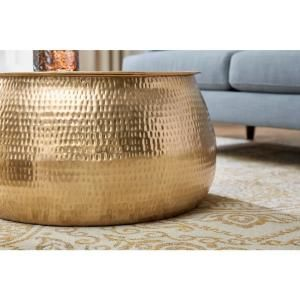 Home Decorators Collection Calluna Round Gold Metal Coffee Table