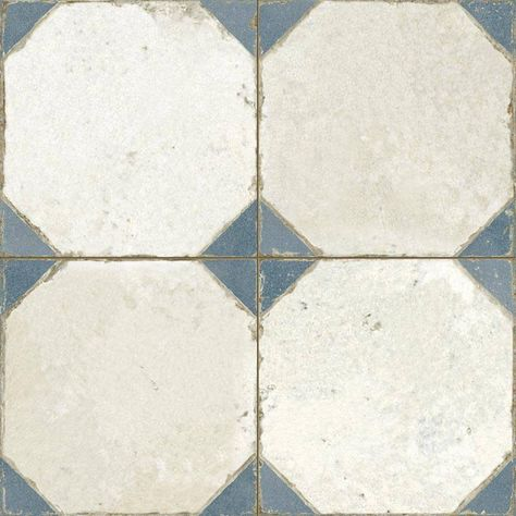 Carrelage Aspect Octogonal Ancien 45x 45cm Blanc Et Bleu