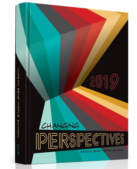 "The Cover Artist - Kerstin Wucharz - The Cover Artist It's In Hudson Bend MS in Austin, TX had ""Changing Perspectives"" as their theme, and combined a vanishing perspective with a retro color scheme for unparalleled awesomeness! Cool Yearbook Ideas, Yearbook Staff, Yearbook Spreads, Yearbook Covers, Yearbook Layouts, Yearbook Photos, Yearbook Design, High School Yearbook, Yearbook Theme"