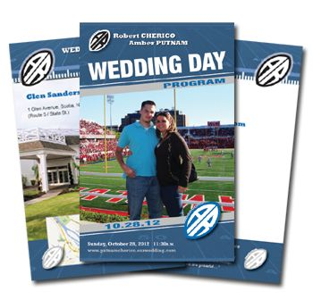 Our line of custom designed wedding day programs are a great way to distribute information to your guests.  Featuring starting lineups for the wedding ceremony and location information, they make a great addition to any wedding day!  #footballwedding #stwdotcom