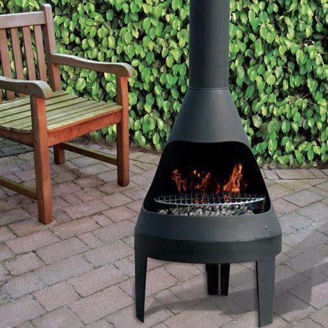 Cheminee D Exterieur Barbecue En Acier Noir Avec Grille Kamino