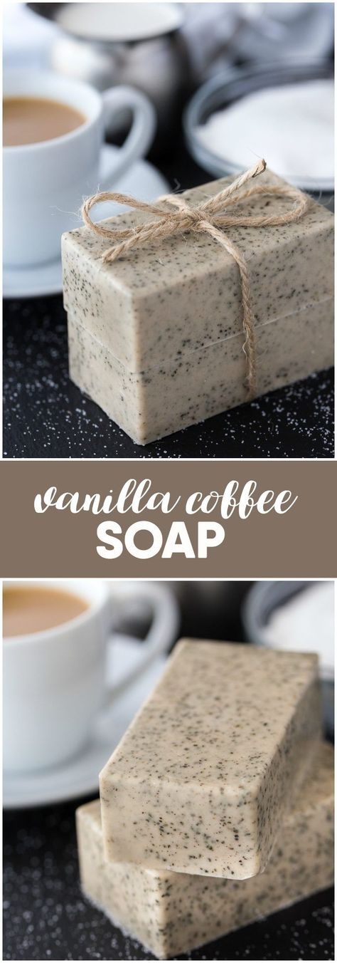 Vanilla Coffee Soap - Keep your coffee grounds from your morning coffee and whip up a batch of this lovely soap! Vanilla Coffee Soap - Keep your coffee grounds from your morning coffee and whip up a batch of this lovely soap! Homemade Soap Recipes, Homemade Gifts, Homemade Paint, Homemade Soap Bars, Soap Making Recipes, Homemade Breads, Homemade Beauty, Diy Beauty, Beauty Soap