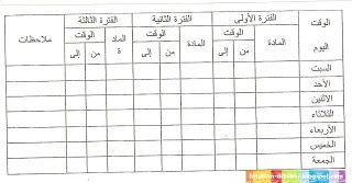 جدول اختبارات امتحانات تنظيم وقت Exams Positivity Words