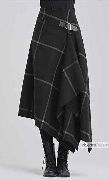 Modern Take On A Kilt In Black With White Windowpane Pattern