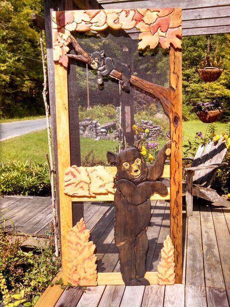 Carved Wood Screen Door   Bear with Cub in Tree - Rustic Artistry