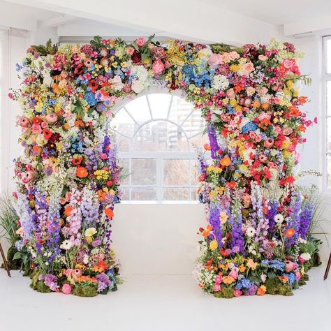 We could spend an eternity admiring these larger than life floral installations for weddings. From lush ceremony backdro Wedding Ceremony Flowers, Floral Wedding, Wedding Colors, Purple Wedding, Floral Backdrop, Floral Arch, Ceremony Backdrop, Ceremony Decorations, Floral Decorations