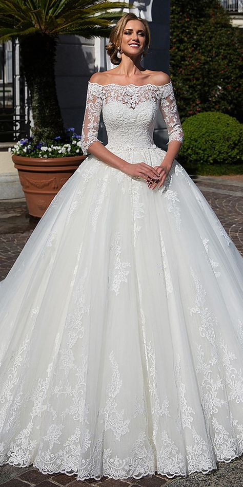 2aa0f31e69 Attractive Tulle Off-the-shoulder Neckline Ball Gown Wedding Dress With Lace  Appliques   Beadings   Detachable Jacket