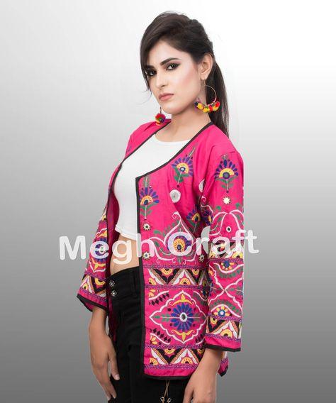 Bohemian Embroidered  Ethnic Silk Kaftan- Coat Silk Floral Coat Vintage Pink  Beautiful Jacket Coat Silk Embroidered Jacket
