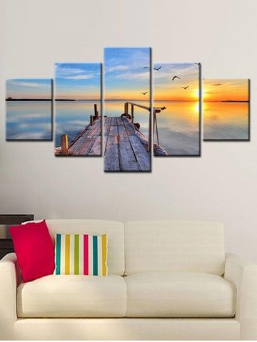 Sunset Sea Bridge Print Unframed Split Canvas Paintings Online Wall Art Canvas Wall Art Set Canvas Wall Art