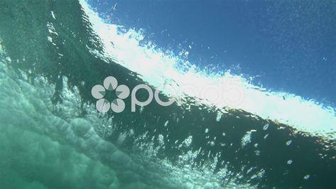 Super Slow Motion Underwater Ocean Wave Crashing Stock Footage