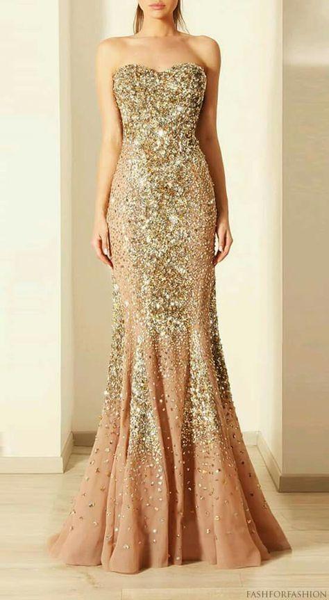 Vestido Dorado Con Brillantes Largo En 2019 Vestidos