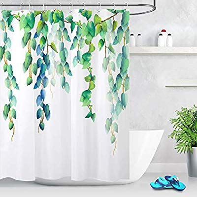 Lb Fresh Design Leaf Shower Curtain Blue Green Leaves Floral