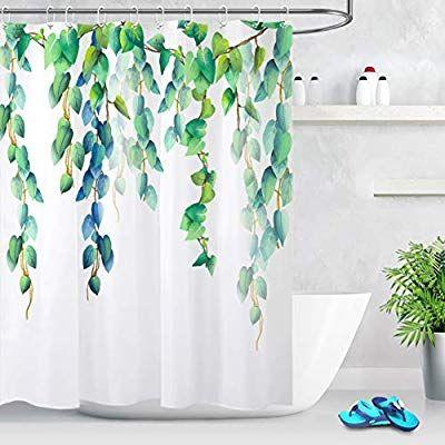 Lb Fresh Design Leaf Shower Curtain Blue Green Leaves Floral Decorative Shower Curtains For With Images Shower Curtain Decor Patterned Shower Curtain Tree