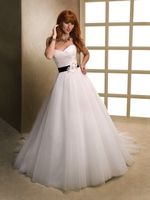 Sweetheart neckline and contrasting belt with gorgeous applique. Perfect - Maggie Sottero #Wedding Dresses - Style April 11943 - http://thealternativebride.com
