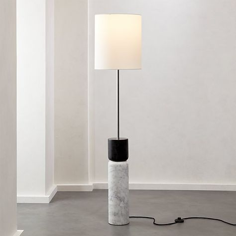Stacked Grey and White Marble Floor Lamp   CB2   White