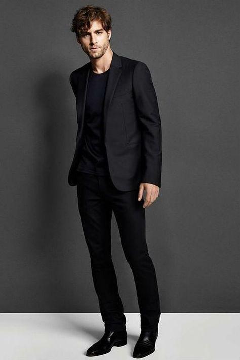 Moda Casual Hombre Outfits Boyfriends Ideas For 2019 All Black Mens Suit, Black Outfit Men, Black Suits, Black Suit Black Shirt, Casual Black Dress Outfit, Black On Black Outfits, Men In Black, Black Clothes, Black Dark