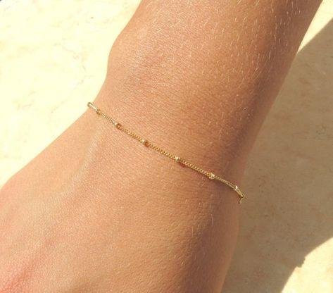 Satellite Chain Bracelet, Delicate and Minimalist Layering Bracelet, Delicate Gold Bracelet, Layerin