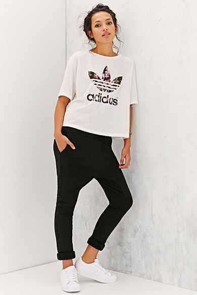 My kind of lounge clothes - adidas Orchid Cropped Tee - Urban Outfitters