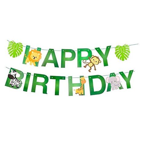 15pcs Jungle Animals Leaves Happy Birthday Banner Cute Z Https