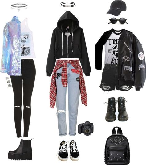 "grungeclothes: "" Warped tour on a rainy day (requested) by grungeclothes featuring vans shoes Zip top, 41 AUD / Topshop hooded coat, 67…"