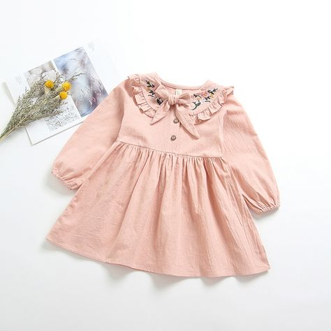 aabc005b9 Girls flowers embroidery princess dress new kids splicing cotton tulle  dress children Bows tie long sleeve cotton party dresses