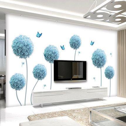 195 110cm Large Dandelion Vinyl Wall Sticker Diy Flower 3d Wallpaper Tv Wall Living Room Home Decoration Post 3d Wallpaper Tv Wall Stickers Living Room Tv Wall